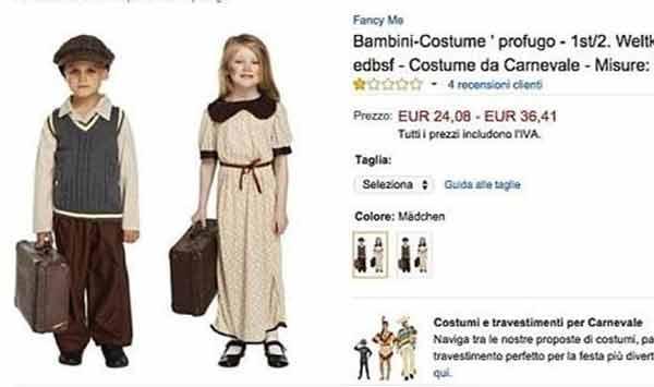 Amazon rimuove i costumi di carnevale per piccoli profughi