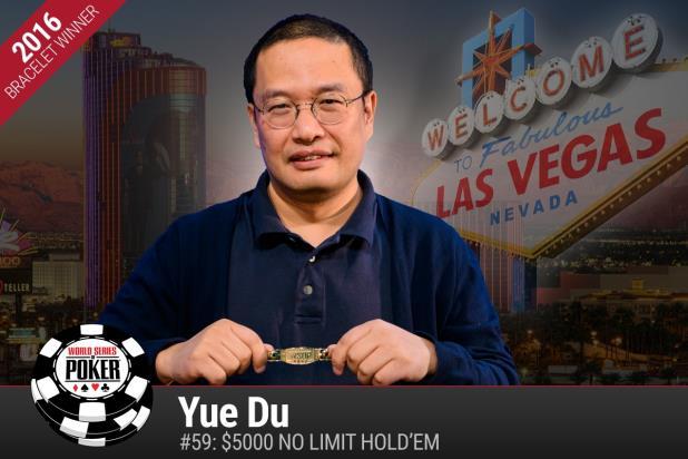 Yue Du vince a sorpresa $5000 No-Limit Hold'em alle WSOP 2016